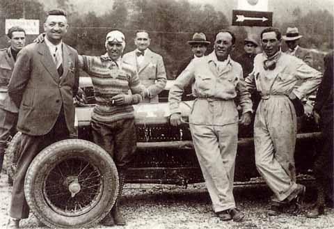 Tazio Nuvolari con Enzo Ferrari